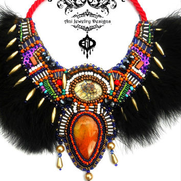 Phoenix Ani Jewelry Design Bead Embroidery Necklace Unique Bib Handmade  Colorful Bright Boho Tribal Feathers Oringe Agate