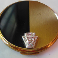 VOLUPTE POWDER COMPACT - Signed - Gorgeous Black Enamel & Brushed Yellow Gold Tone - Rhinestone Snap Clasp - Intact Mirror -  With Puff