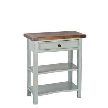 Hillsdale Tuscan Retreat Single Drawer Console Table In Sea Blue With Antique Pine Top