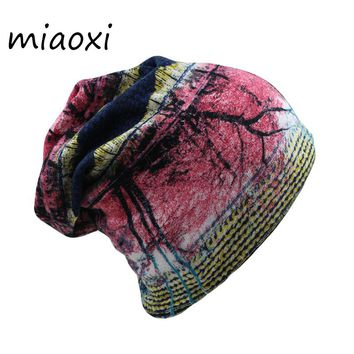 miaoxi Fashion Autumn Women Floral Adult Warm Hat Scarf Two Used Polyester Hip Hop Caps Beanies Skullies For Girl Bonnet mx-305