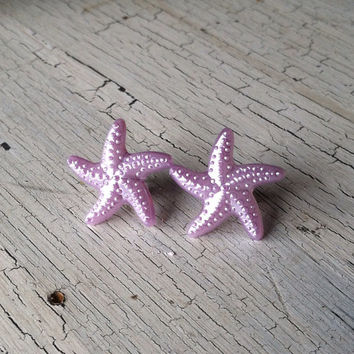Purple Starfish Earrings - Starfish Stud Earrings - Acrylic Stud Earrings, Starfish Post Earrings