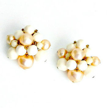 Vintage Earrings, Cluster Earrings, 1940s, West Germany, Milk Glass Earrings, Beige & White Beaded Earrings, Clip On Earrings.