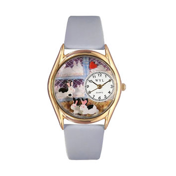 Whimsical Watches Healthcare Nurse Gift Accessories Bunny Rabbit Baby Blue Leather And Goldtone Watch