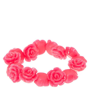 Neon Pink Carved Roses Stretch Bracelet