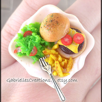 SUPER SALE Burger Ring - Junk Food Mini Ring - Kawaii Jewelry - Miniature Ring- Cute Ring- Food Miniature - Cheap Gift - Sale Jewelry