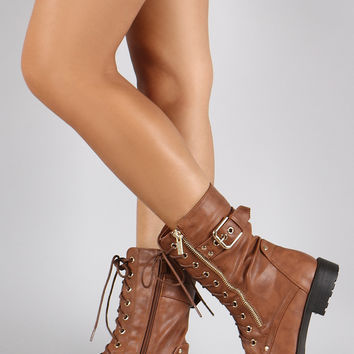 Zipper Buckle Round Toe Combat Lace Up Mid Calf Boot