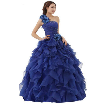 New Arrival Evening Dress Ball Gown One Shoulder Ruffle Rhinestone Evening Gown Prom Dresses Vestido De Festa Longo AZP028