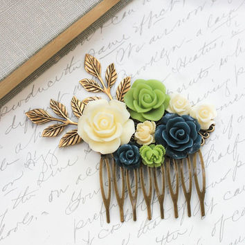 Floral Bridal Hair Comb Green and Navy Blue Rose Hair Comb Summer Wedding Flower Hair Piece Cream Ivory Rose Branch Floral Hair Accessories