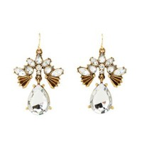Vintage-Inspired Faceted Stone Statement Earrings - Gold
