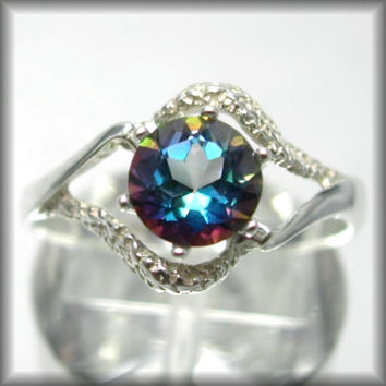 Mystic Topaz Ring Engagement Ring Blue Mystic Topaz 1ct Eye Of Isis Sterling Silver Solitaire Ring Custom Sized 2-16 ,