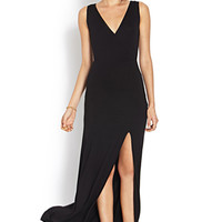 Sleek Surplice Slit Maxi Dress