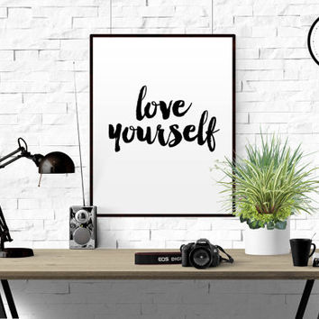 "Justin Bieber Art Print ""Love Yourself"" Justin Bieber song Justin Bieber album Home decor song lyrics Wall art Typographic Print Gift idea"
