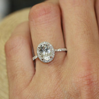 Halo Diamond Engagement Ring with 9x7mm Oval White Topaz in 14k White Gold Pave Diamond Wedding Band (Bridal Wedding Set Available)