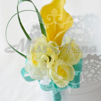 Yellow calla lily with tiffany blue ribbon boutonnieres Wrapped In Ribbon Silk Flower Arrangement Rustic Chic Romantic groom
