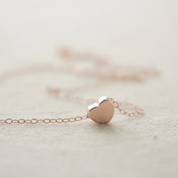 Rose Gold tiny heart necklace, birthday gift, lucky charm