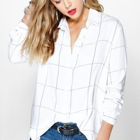 Enya Large Grid Oversized Shirt | Boohoo