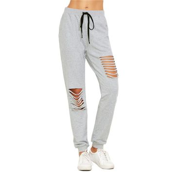 Fashion Pants Woman Autumn Women Full Length Casual Pants Heather Ripped
