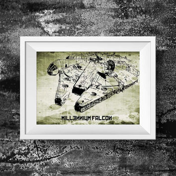 Spaceship millennium falcon print - Movie print millennium falcon - stormtrooper wall art decor poster print