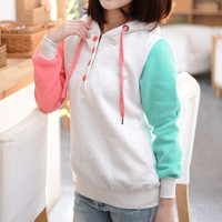 2014  Fashion Women Long Sleeve Loose Hoodie With Hat  Tops Coat = 1920413124