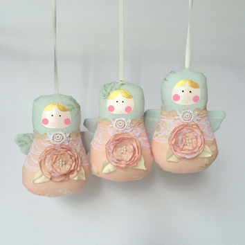 Babushka dolls, angel dolls, ornament, set of 5 plush dolls. Baby pink and blue colours Shabby & chic. Baby shower gift. Nursery, Home deco