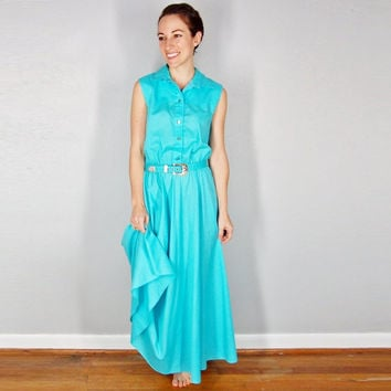 Teal Maxi, County Style, Preppy, Sky Blue, Small, XS Spring Summer Sundress