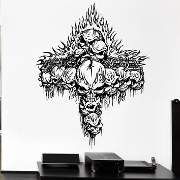 Wall Decal Cross Fire Skeleton Skull Bones Death Cemetery Vinyl Decal Unique Gift (ed336)