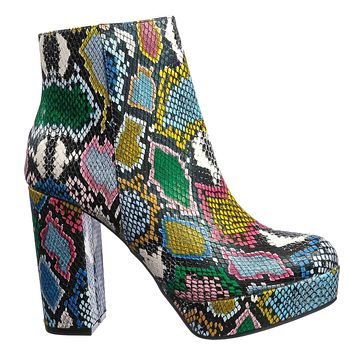 Sorbet01 Faux Fur Block Heel Bootie - Rainbow Snake Print Ankle Chunky Boots