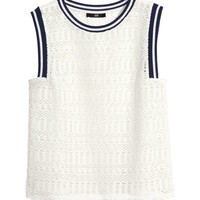 H&M - Pointelle-patterned Top - White - Ladies