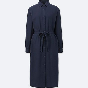 WOMEN FLANNEL LONG-SLEEVE SHIRT DRESS