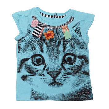 Deux Par Deux Catwalk Printed Cat T-Shirt Blue