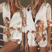 White Floral Print Plunging Neck Romper