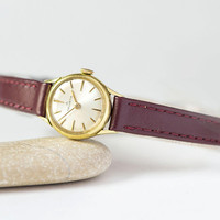 Swiss women watch Helvetia gold plated retro, vintage lady watch rare gift, mechanical watch her small minimalist, premium leather strap new