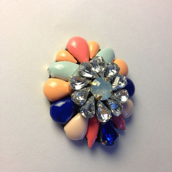 Royal Sapphire Blush and Coral Multi Color Crystal and Stone Statement Pendant Brooch