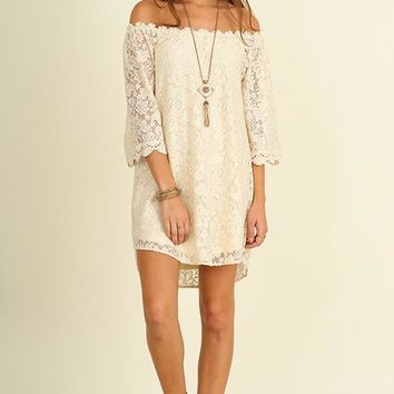 Cream Off Shoulder Lace Dress