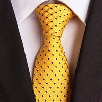 Men Classic Black&Gold Striped Tie Woven Jacquard Silk Suits Necktie