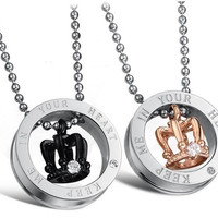 His and Hers Keep Me in Your Heart Love Cherish Black and 18K Rose Gold Plated CZ Crystal Engraved Royal Crown Titanium Steel Pendant Couple Necklaces 603 (Color: Multicolor)