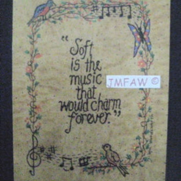 "Primitive Folk Art Print- ""Soft is the Music that Would Charm Forever""-Copyright Lithograph Print of Original Handcrafted Folk Art Stitchery"