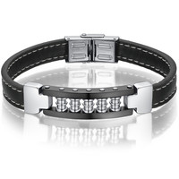 Leather and Stainless Steel Modern Industrial Style Unisex Bracelet