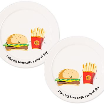 I like big buns with a side of fry Appetizer Plates (Set of 2)