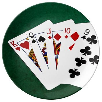 Poker Hands - Straight - King To Nine Plate