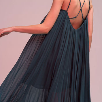 Pleated Slip-on Maxi Dress