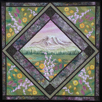 Art Quilt Wall Hanging Mt. Rainier Hand Painted