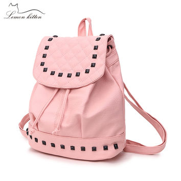 Lemon Kitten Shoulder Bag Pu Rivet Backpack For Women Teenage Girl Female Backpack Rucksack Mochila Escolar School Students Bag