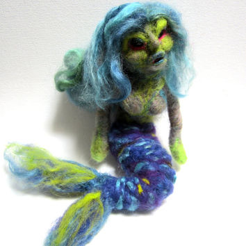 Creepy mermaid, needle felted, ugly doll, collectors art doll, sea witch, sea monster, scary figurine, one of a kind, unique weird sculpture