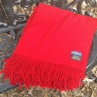 Vintage Ralph Lauren Red Cashmere Throw with Fringe Made in Scotland