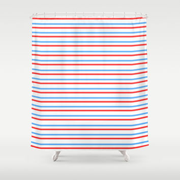simple stripe red blue pattern Shower Curtain by kongkongdigital