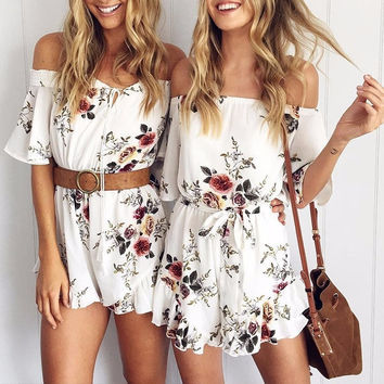 Cindee Lane Off-the-Shoulder Floral Romper