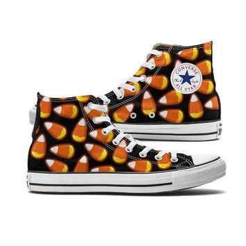 Candy Corn Converse Black High Tops
