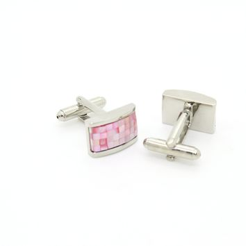 Silvertone Pink Rectangle Shell Cuff Links With Jewelry Box