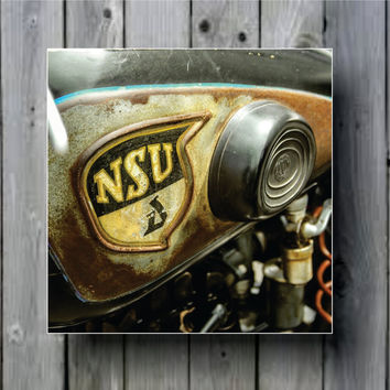 Vintage Motorcycle Gas Tank Engine Close Up Art Background Photo Panel - Durable Finish - High Definition - High Gloss